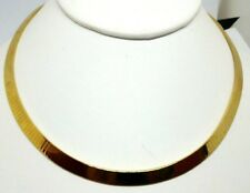 """14K yellow gold flat OMEGA necklace 16.5"""" long 5.96 MM WIDE  ITALY LFS 35 grams"""