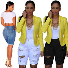 Women Trendy Ripped Destroyed Hole Denim Knee Length Shorts Skinny Ripped Jeans