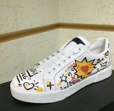 NEW Men's Metal Casual Lovely style Graffiti  leather Sneaker Shoe White Shoes
