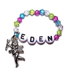 BABY REBORN DOLL BRACELET BEADS PERSONALIZED NAME LAVENDER BLUE GREEN CLEAR