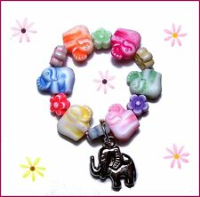 REBORN DOLL BRACELET BEADS STRETCH ELEPHANT FLOWERS PINK BLUE GREEN LAVENDER