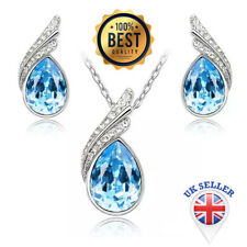 Austria Crystal Necklace Earring Jewelry Set with Rhinestone Necklace & Earrings