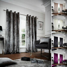 Luxurious PLAIN CRUSHED VELVET Fully Lined Ring Top Eyelet CURTAINS Pair