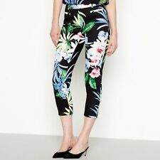 The Collection Womens Black Floral Print Slim Fit Sateen Trousers