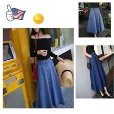 Free Womens Korean A-line High Waist Long Midi Denim Flare Party Skater Skirt Sz