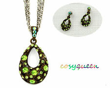 Swarovski Elements Crystal Green Pink Amber Oval Pendant Necklace Earring Set