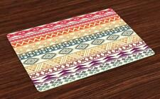 Aztec Placemats Set of 4 by Ambesonne Washable Fabric Place Mats