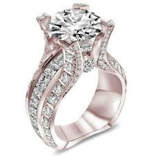 Rose Gold Ring Sapphire Wedding Enagemeng Proposal Jewelry Party Ring Size6-10