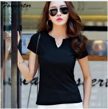 Women Autumn Cotton Female T Shirts V-Neck Solid Striped Tops Casual Basic Lady