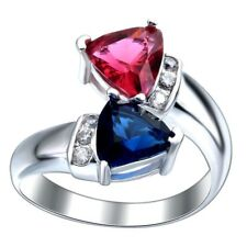 Ruby&Blue Sapphire 925 Silver Plated Crystal Rings Wedding Bridal Jewelry Sz6-10