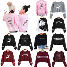 Women Girl  Sweatshirt Full Sleeve Letter Print Round Neck  Casual Pullover Tops