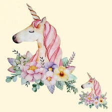 Pyrography Heat Transfer Flower unicorn Iron On Patches For Clothes T-Shirt