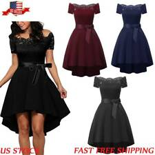 Women Off Shoulder Lace Formal Wedding Cocktail Evening Party Retro Swing Dress