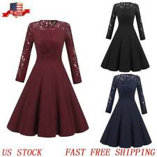 Women New Vintage Lace Formal Wedding Cocktail Evening Party Retro Swing Dress