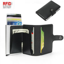 Leather Colours Credit Card Holder Cash Wallet Clip RFID Blocking Metal Purse