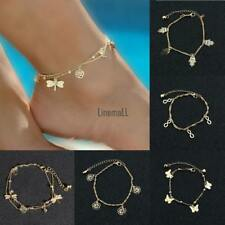 Women Fashion Dragonfly Butterfly Rose Double-Layered Ankle Bracelet LM 01