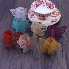 5/50pcs 3D Butterfly Paper Napkin Ring Holder for Xmas Wedding Party Table Decor