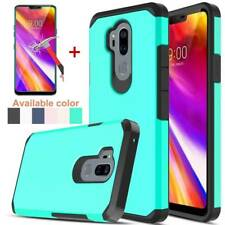 Fr LG G7 ThinQ Hybrid Armor Case Shockproof Defender Hard Cover+Tempered Glass