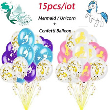 15pcs 12inch Mermaid Unicorn Latex Balloons Kids Birthday Party Decor Balloon