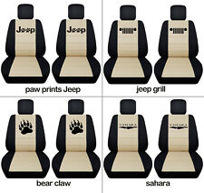 Fits JK wrangler  front car seat covers black-sand w/ bear claw, jeep grill...