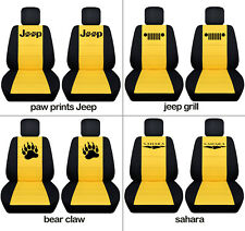 Fit JK wrangler  front car seat covers blk-yellow w/ jeep grill, sahara,punisher