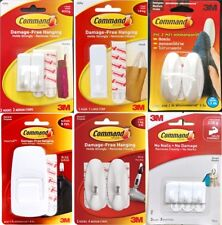 3M COMMAND SMALL MEDIUM JUMBO HOOK DECORATIVE CLEAR WHITE REMOVABLE HANGING DIY