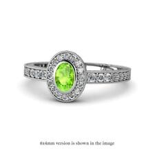 Oval Cut Peridot and Diamond Halo Engagement Ring 1.36 ctw 14K Gold JP:145809