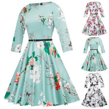 3/4 sleeve dress swing party formal homecoming floral knee length belt a line