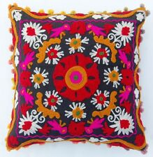 EMBROIDERED HANDMADE SUZANI PILLOW COVER VINTAGE SUZANI POM POM CUSHION COVER #