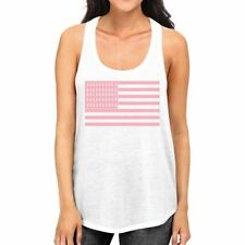 Breast Cancer Awareness Pink Flag Womens White Tank Top