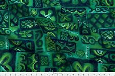 Green Blue Emerald Flower Waves Retro Tiki Fabric Printed by Spoonflower BTY