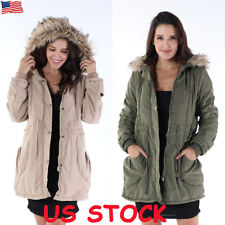 Ladies Womens Fur Collar Winter Warm Jacket Trench Parka Hoodies Coat Outwear US