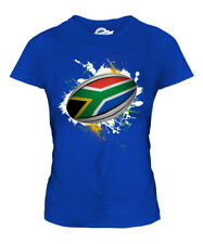 SOUTH AFRICA RUGBY BALL SPLATTER LADIES T-SHIRT TEE TOP GIFT WORLD CUP SPORT