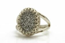 Natural Gray Agate Druzy Gemstone Ring 925 Sterling Silver Ladies Jewelry Gift