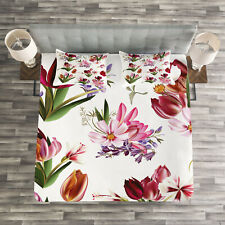 Floral Quilted Bedspread & Pillow Shams Set, Collection of Flowers Print
