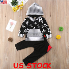 Newborn Baby Boys Girls Hoodie T-shirt Tops Pants Outfits Toddler Clothes Set US