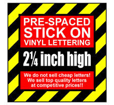 9 Characters 2.25 inch 57mm high pre-spaced stick on vinyl letters & numbers
