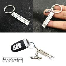for Him Trucker Key Chains Stainless Steel Drive Safe Handsome Keyring Pendant