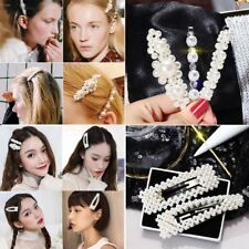 Chic Women Pearl Hair Clip Snap Barrette Stick Hairpin Hair Vintage Accessories