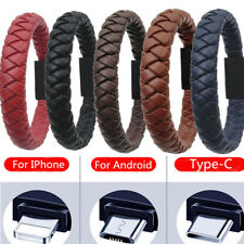 Portable Leather Bracelet Type-C/8Pin/Micro USBCharger Charging Cable Sync Cord
