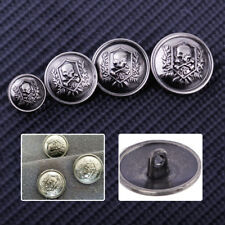 10pcs Metal Silver Round Skull Crossbones Sewing Shank Buttons Craft Coat DIY