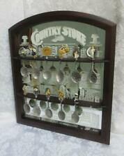 Franklin Mint Country Store Spoon Rack Display Mirrored Glass & Wood 11 pewter