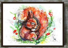 """Red Squirrel """"Forty Winks"""" Watercolour Painting,Original Art, Prints, Art Card"""