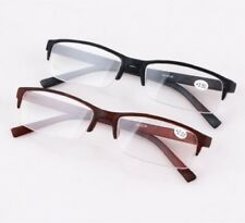 New Men's Black/Tan Spring Hinge Temple Half Rimless Reading Glasses Reader