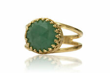 Artisan-crafted Aventurine in 14k Gold-Over-Silver Ring Band by Anemone Jewelry
