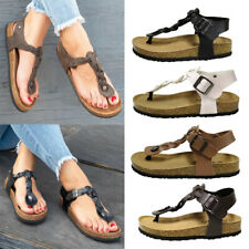Womens Ankle Strap Buckle Sandals Ladies Summer Beach Flip Flops Flat Shoes Size