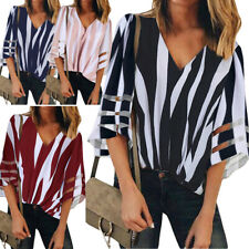 Ladies Casual Falre Sleeve Blouse Women Striped V Neck Loose Baggy Shirt Tops