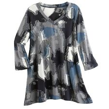 Parsley & Sage Women's Denim Collage Knit Tunic Top - Blue/Gray V-Neck Shirt