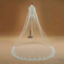 Cathedral Wedding Bridal White Ivory 2M Veils Lace Applique Edge Veil With Comb