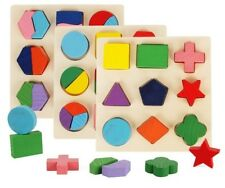 Math Wooden Geometric Shapes Sorting Puzzle Learning Educational Game Toys Solid